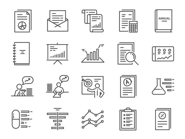 illustrazioni stock, clip art, cartoni animati e icone di tendenza di report icon set. included the icons as financial report, tax document, lab test, balance sheet, graph, analytic, analysis and more. - rapporto