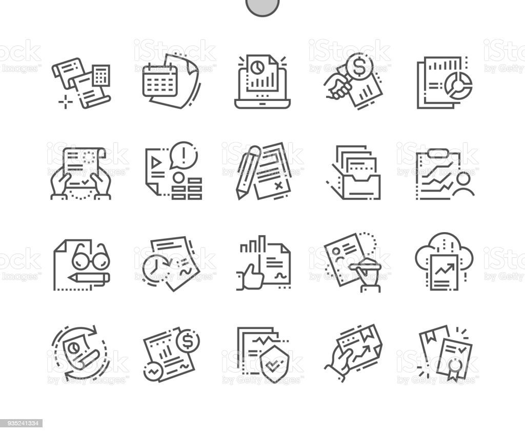 Report Well-crafted Pixel Perfect Vector Thin Line Icons 30 2x Grid for Web Graphics and Apps. Simple Minimal Pictogram vector art illustration