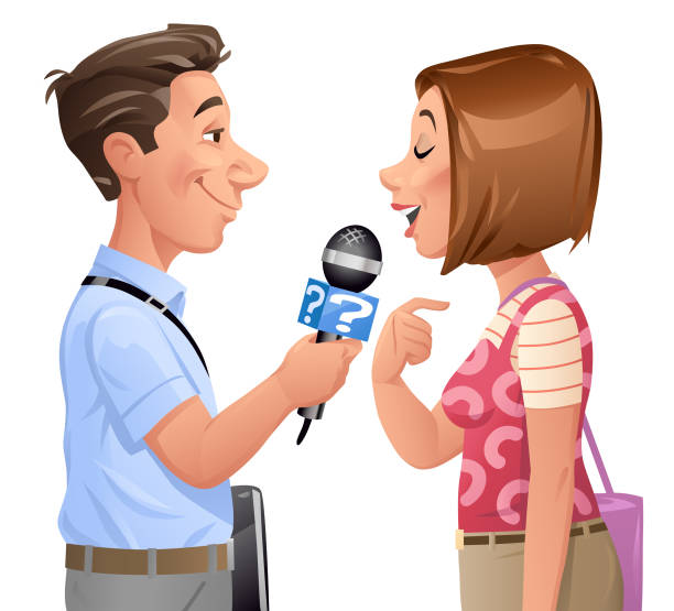 stockillustraties, clipart, cartoons en iconen met verslaggever interviewen jonge vrouw - journaal presentator