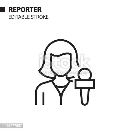 istock Reporter Line Icon, Outline Vector Symbol Illustration. Pixel Perfect, Editable Stroke. 1193777557
