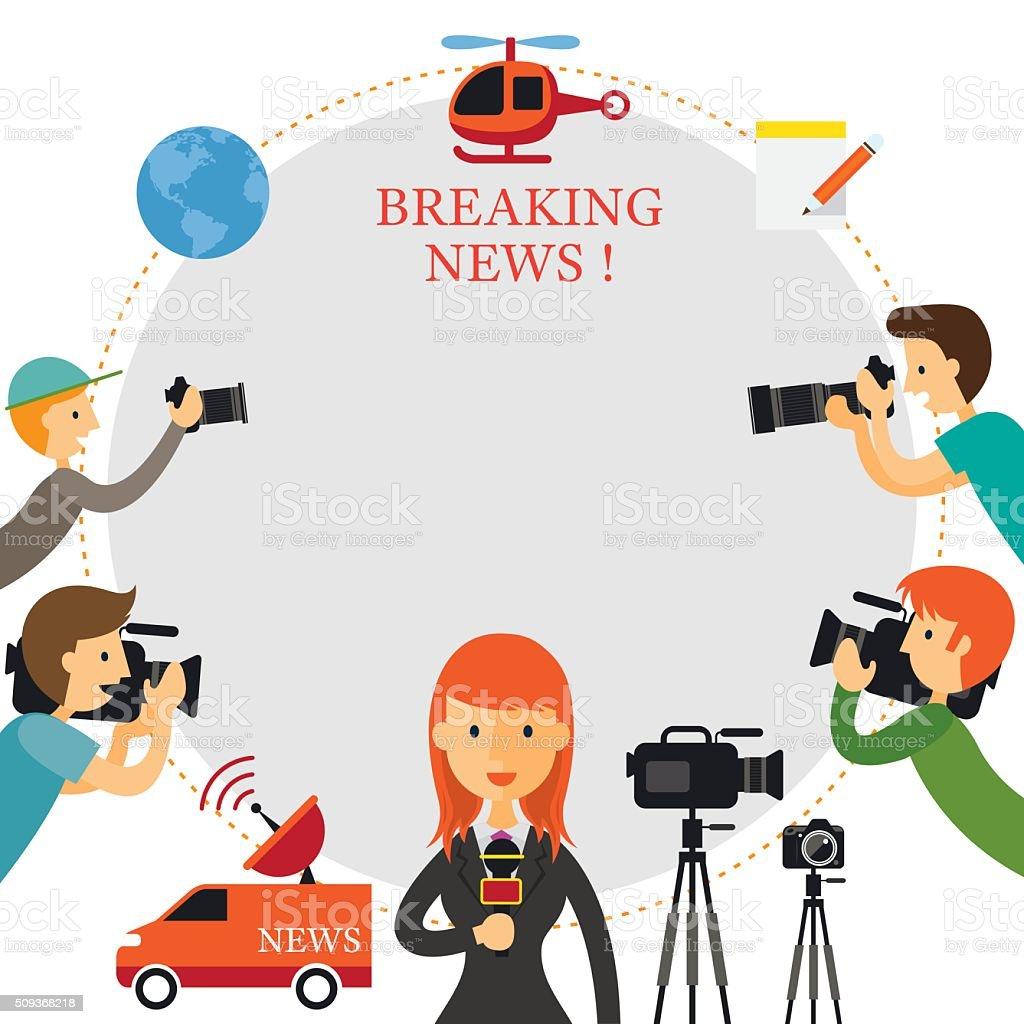 Reporter, Photographer, Cameraman, News Report Frame vector art illustration