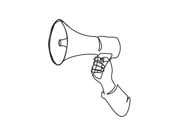 Reporter sign. The loudspeaker is drawn by a single line on a white background. One-line drawing. Continuous line Reporter sign. The loudspeaker is drawn by a single line on a white background. One-line drawing. Continuous line declaration of independence stock illustrations