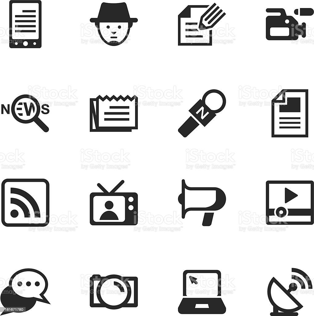 Reporter Silhouette Icons royalty-free stock vector art