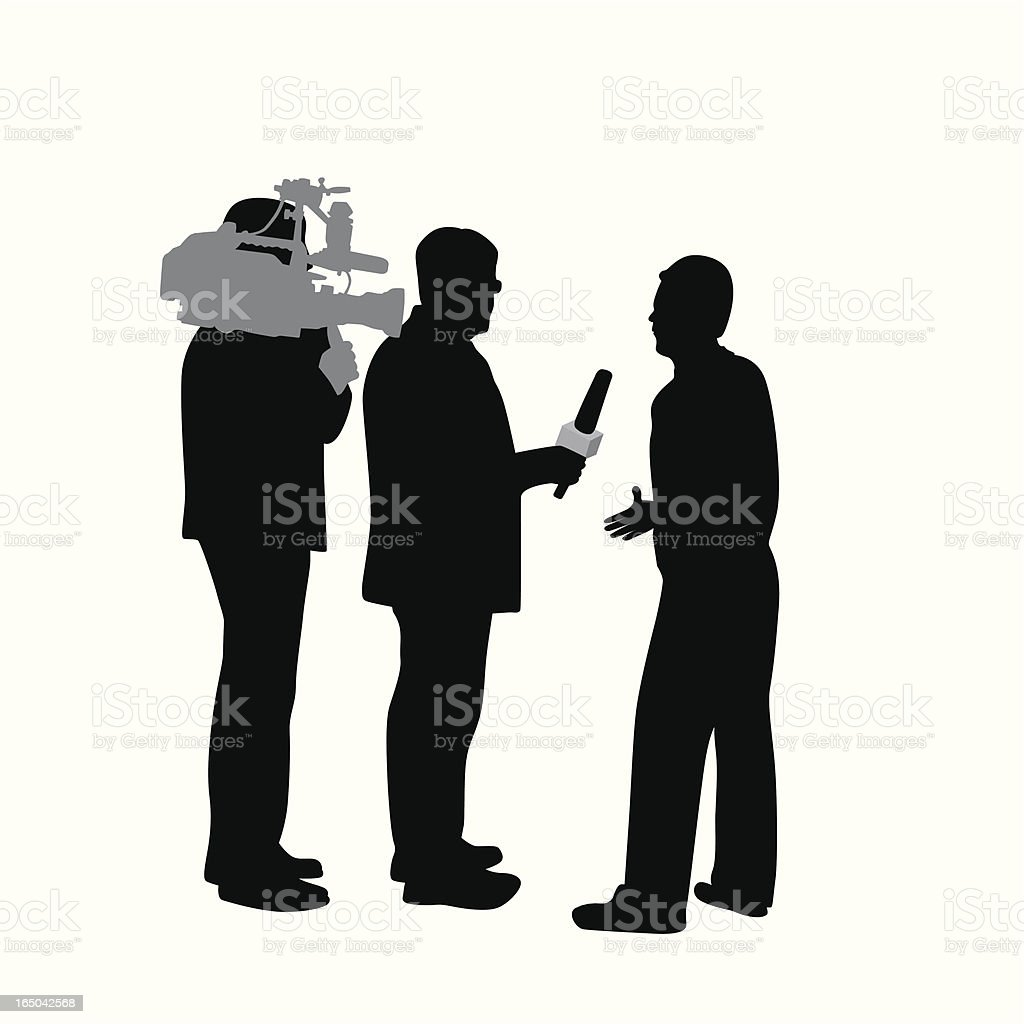 Reporter Street Interview Vector Silhouette royalty-free reporter street interview vector silhouette stock vector art & more images of adult