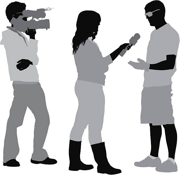 illustrations, cliparts, dessins animés et icônes de reporter de télévision faire entretien d'un homme - interview