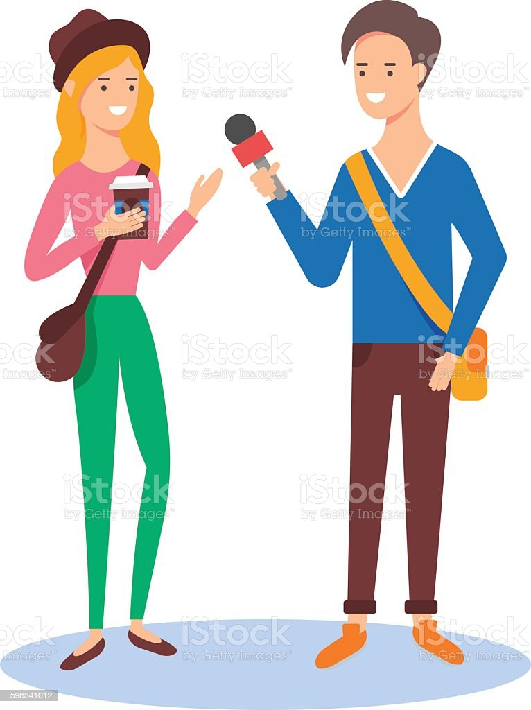 Reporter taking the interview, mass media concept vector illustration royalty-free reporter taking the interview mass media concept vector illustration stock vector art & more images of adult