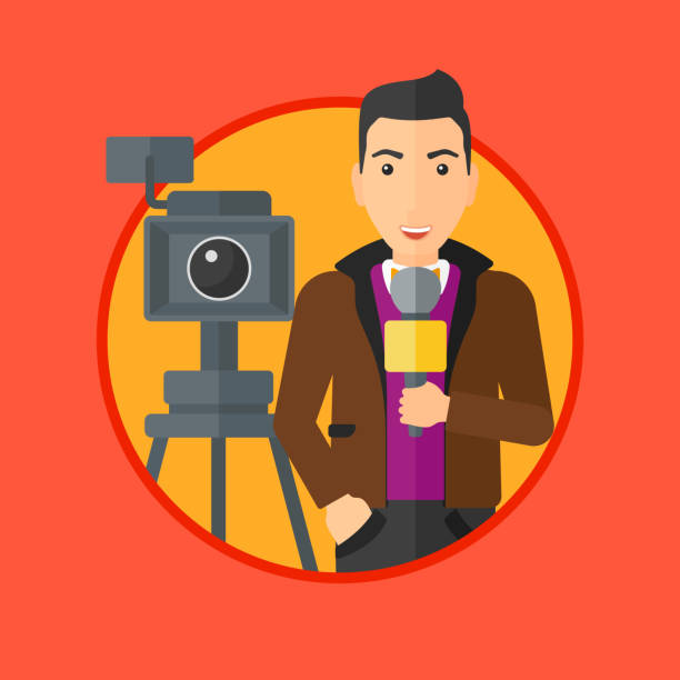 マイクとカメラでテレビ レポーター ベクターアートイラスト
