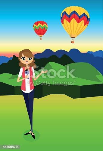 istock Reportera en evento de globos aerostáticos 484958770