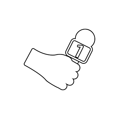reporter's hand with a microphone icon. Element of Media for mobile concept and web apps icon. Thin line icon for website design and development, app development