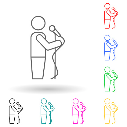 reporter's hand with a microphone multi color style icon. Simple thin line, outline vector of media icons for ui and ux, website or mobile application