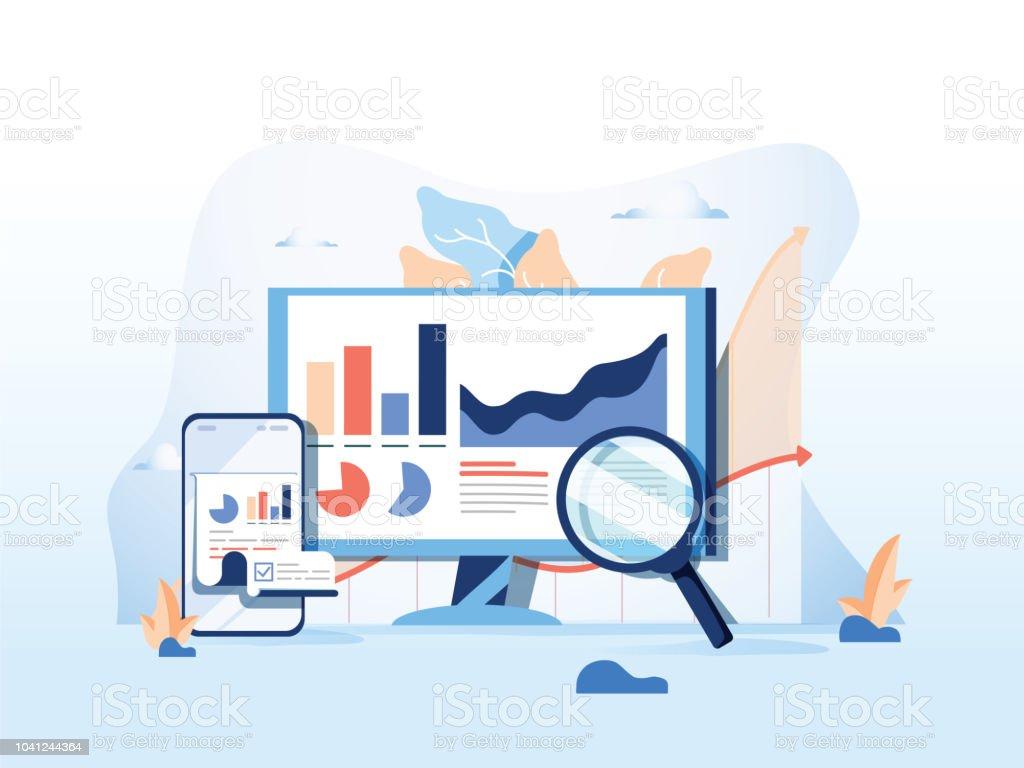 SEO Berichtsdaten, Überwachung, Web Analytics, große Verkehr Daten flache Vektor-Illustration auf blauem Hintergrund. – Vektorgrafik