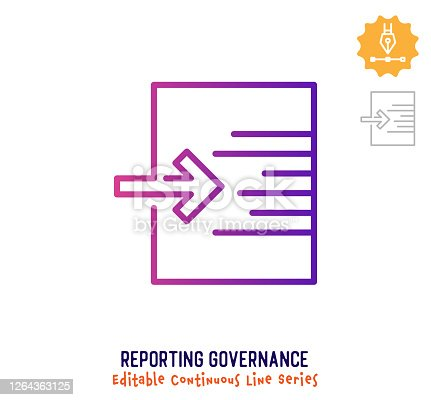 istock Reporting Governance Continuous Line Editable Stroke Icon 1264363125