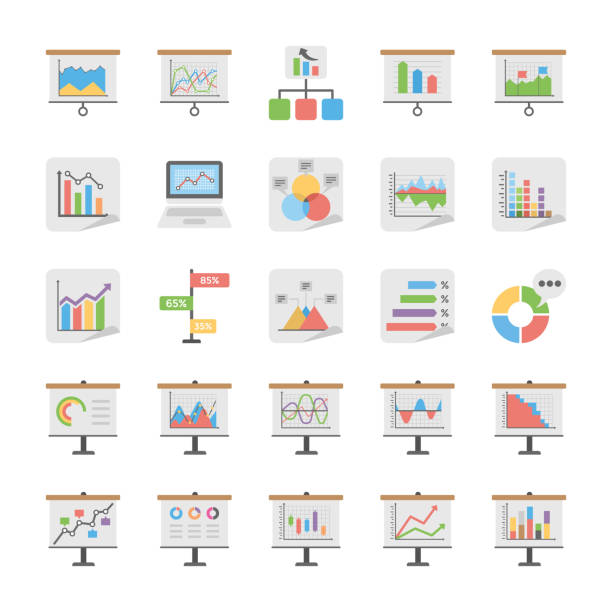 Reports and Diagrams Icons Set A useful pack of reports, charts and diagrams. It manages a lot of information and it is needed to show this info in the best visual way, this Reports and Diagrams Vector Icons set include icons with examples for presentation of information. gantt chart stock illustrations