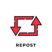 istock Repost button icon vector for social media. Repost icon Vector illustration design template. Repost icon or button for video channel, blog, social media concept and background banner 1255743355