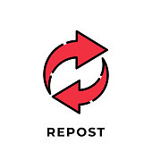 istock Repost button icon vector for social media. Repost icon Vector illustration design template. Repost icon or button for video channel, blog, social media concept and background banner 1255743371