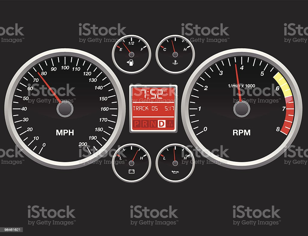 A representation of a cars dashboard with speedometer vector art illustration
