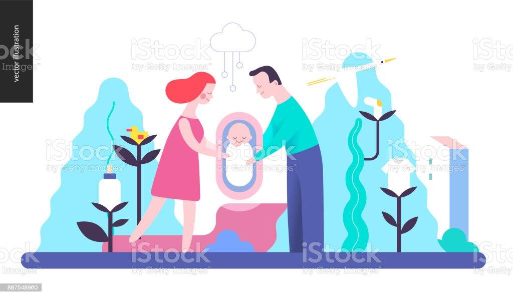 複製品 - 赤ちゃんと家族 ベクターアートイラスト