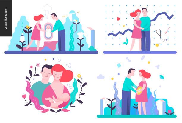 reproduktion - set von vektor-illustrationen - entenhaus stock-grafiken, -clipart, -cartoons und -symbole