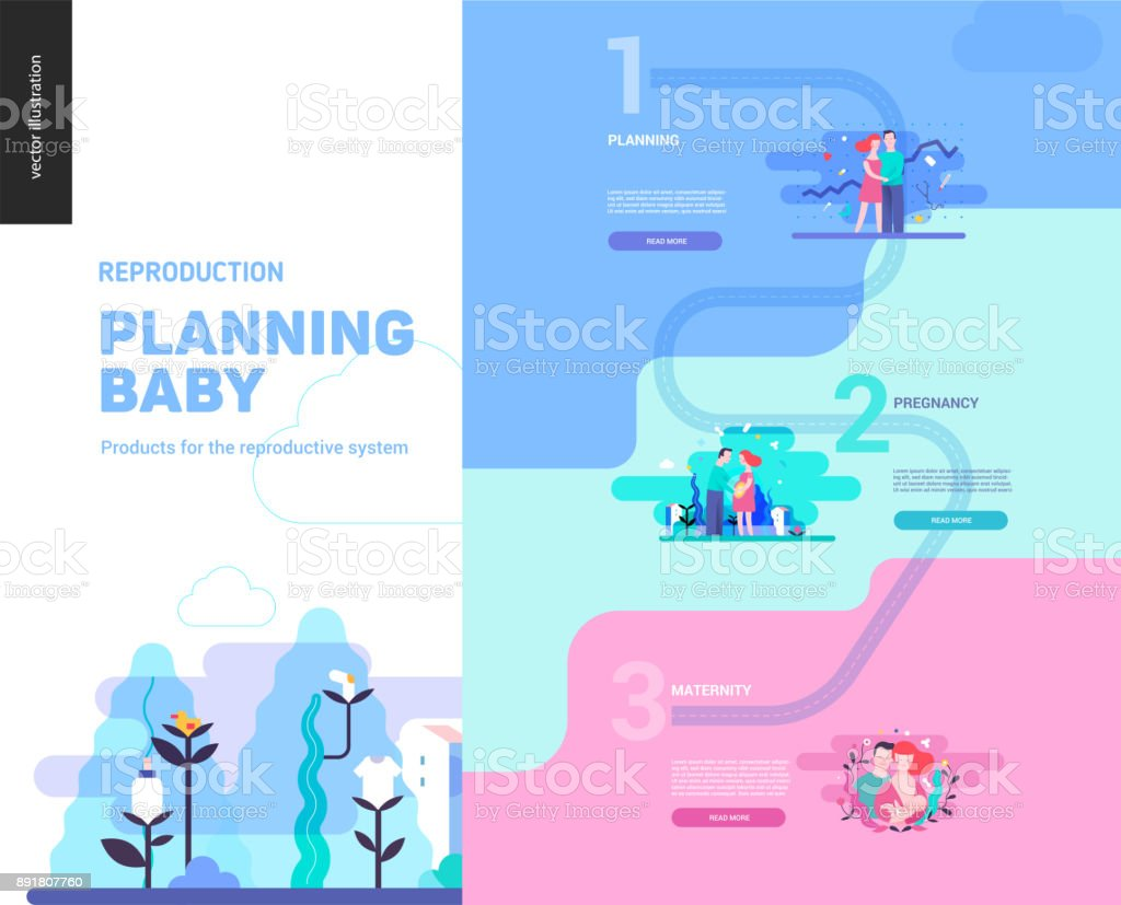 Reproduction - web page template vector art illustration