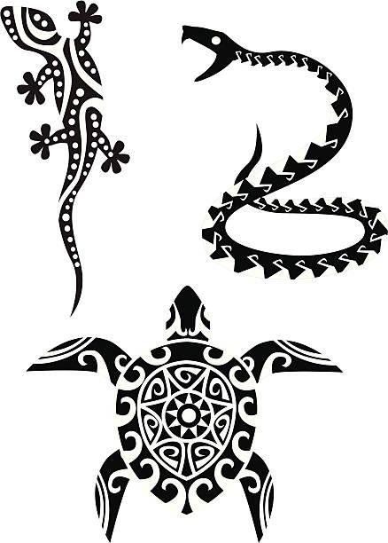reptile tribal tattoo - gecko stock illustrations, clip art, cartoons, & icons