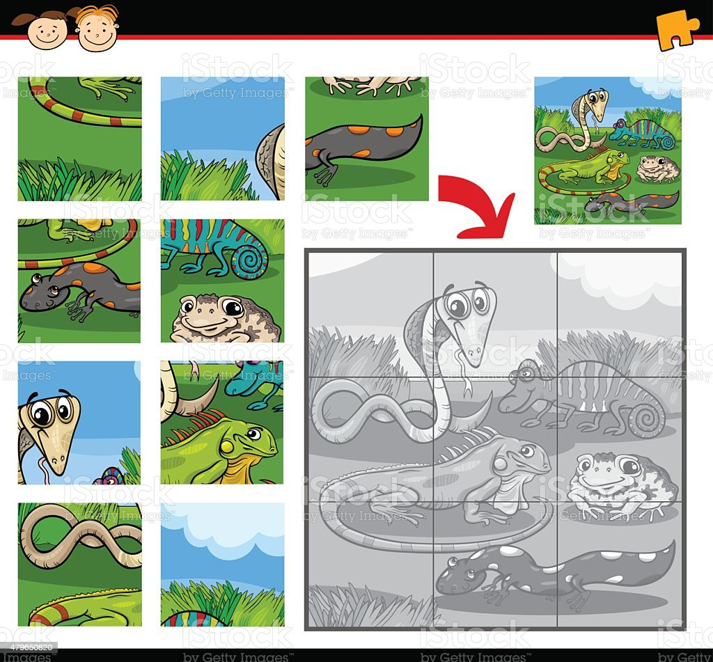 Reptiles Education Jigsaw Puzzle Game Stock Illustration