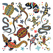Multicolor reptiles set. Vector flat cartoon illustration. Decorative animal collection. Summer design elements isolated on white background. Lizard, chameleon and sea turtle with aztec tribal pattern