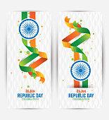 Republic Day Banner Background Design Set with Indian National Flag Vector Illustration