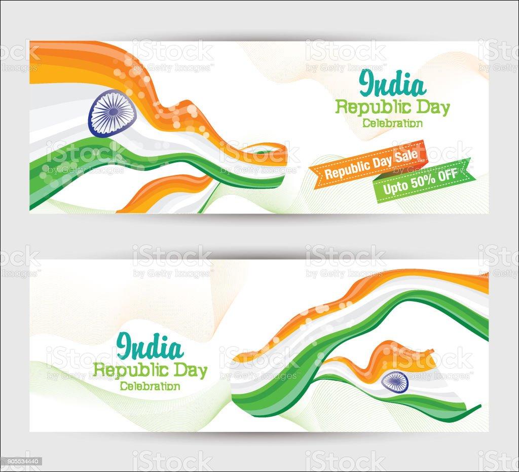 Republic Day Banner Design Template vector art illustration