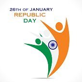 happy republic day greeting design with character vector