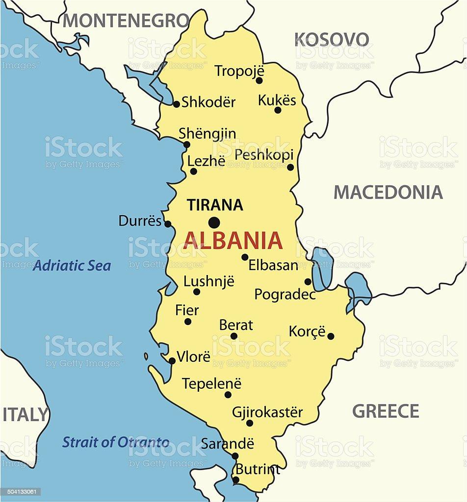 Cartina Di Albania.Repubblica Di Albaniamappa Vettoriale Immagini Vettoriali Stock