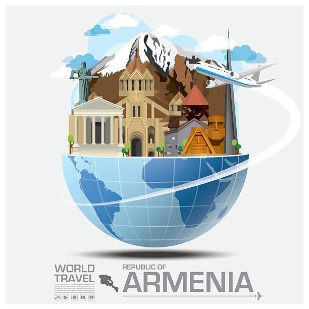 Republic Of Armenia Landmark Global Travel And Journey Infographic Republic Of Armenia Landmark Global Travel And Journey Infographic Vector Design Template armenia country stock illustrations