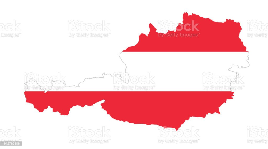 Republic of Austria flag in country silhouette vector art illustration