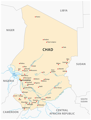 republic of Chad vector map