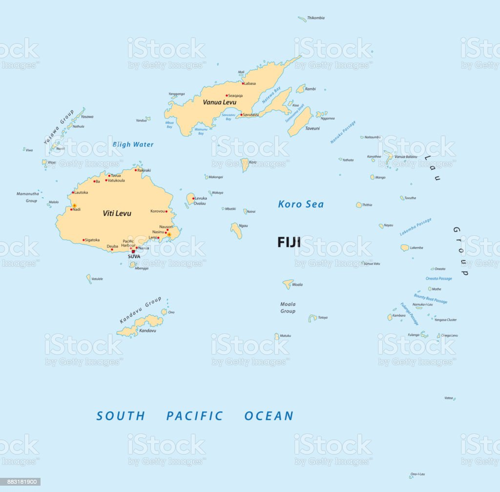 Republic Of Fiji Vector Map Stock Illustration Download Image Now