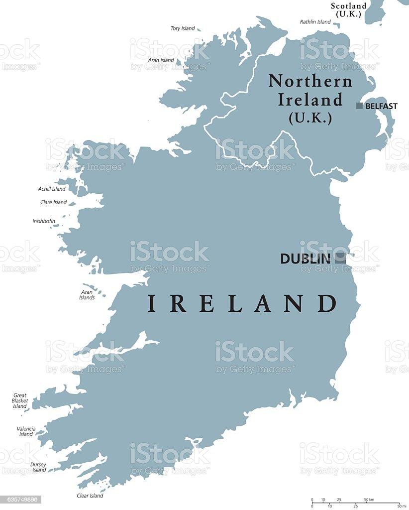 Republic of Ireland and Northern Ireland political map vector art illustration