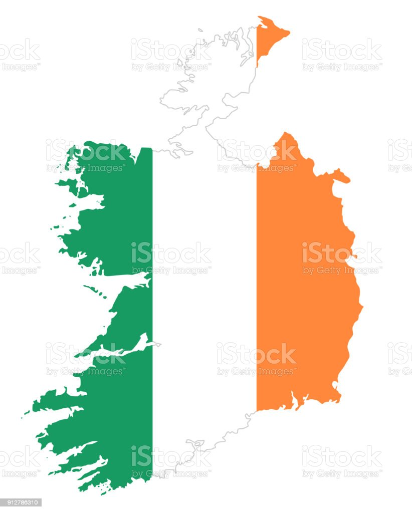 Republic of Ireland flag in country silhouette Republic of Ireland flag in country silhouette. Landmass and borders as outline, within the banner of the nation in colors green, white and orange. Isolated illustration on white background. Vector. Austria stock vector