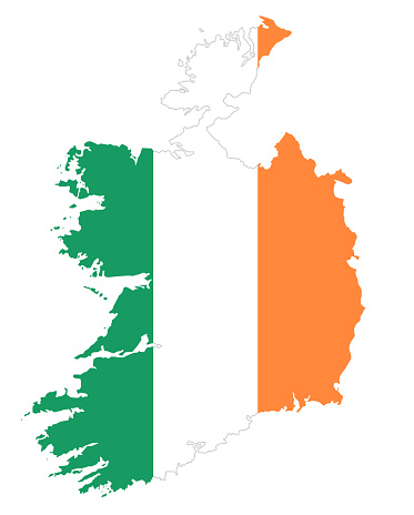 Republic Of Ireland Flag In Country Silhouette Stock Illustration - Download Image Now