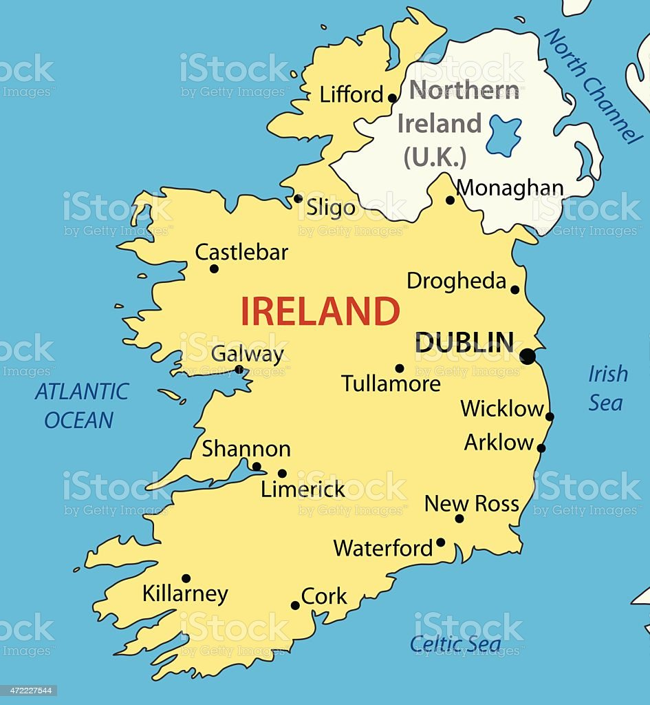 Republic of Ireland - vector map vector art illustration