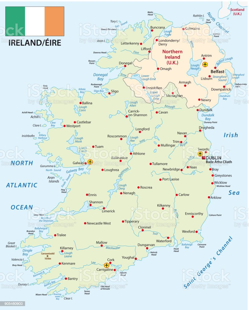 Republic of Ireland vector map with flag