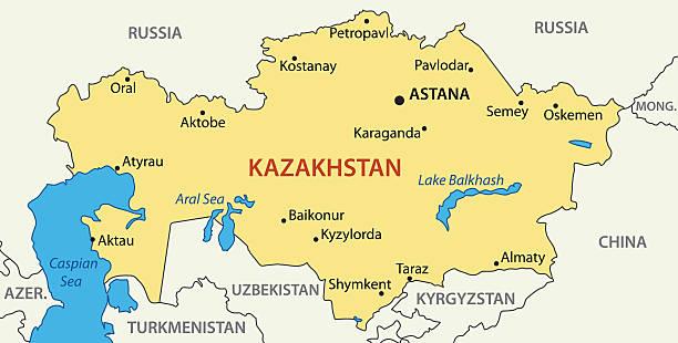 republik kasachstan-vektor-karte - kasachstan stock-grafiken, -clipart, -cartoons und -symbole