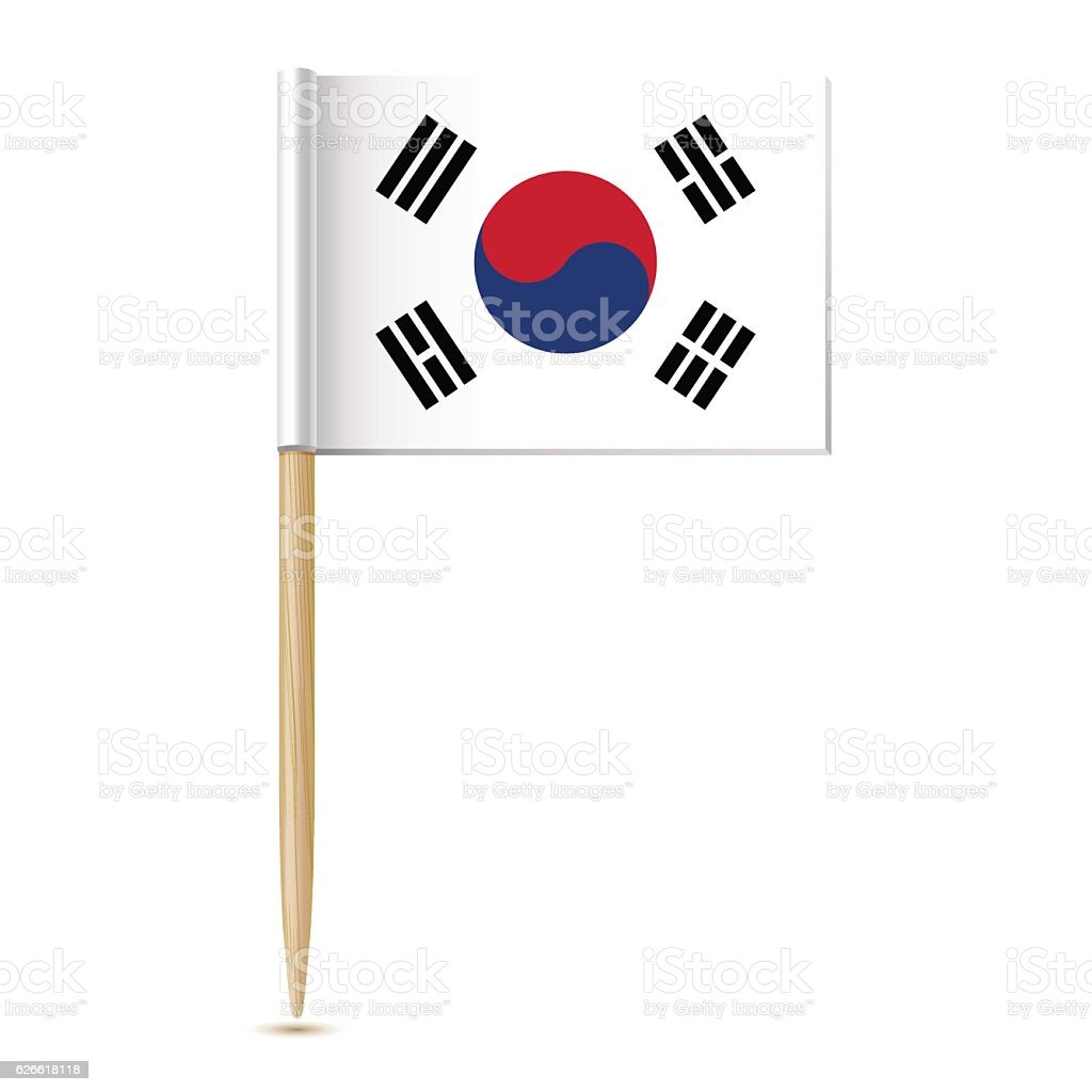 Republic of Korea flag. South Korea toothpick flag on white background - Illustration vectorielle
