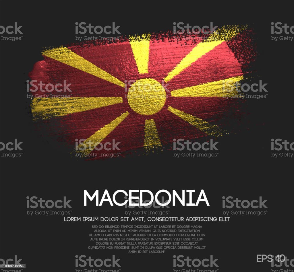 Republic of Macedonia Flag Made of Glitter Sparkle Brush Paint Vector vector art illustration