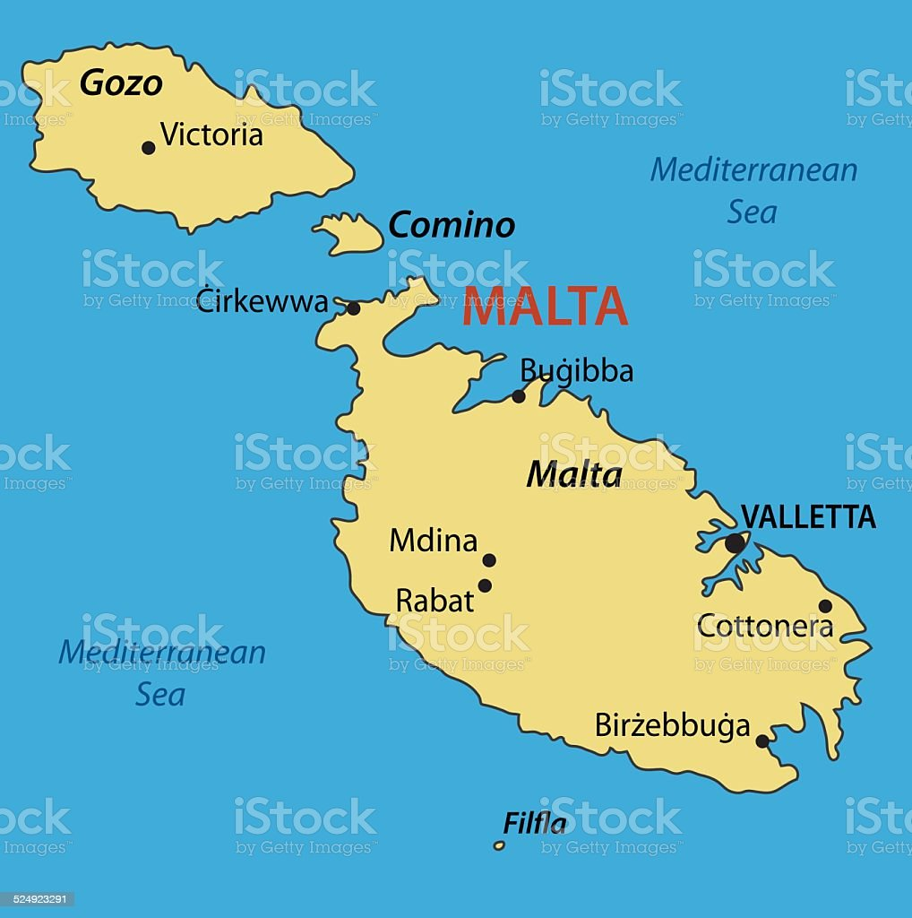 Malta On Map Of Europe.Republic Of Malta Vector Map Stock Vector Art More Images Of