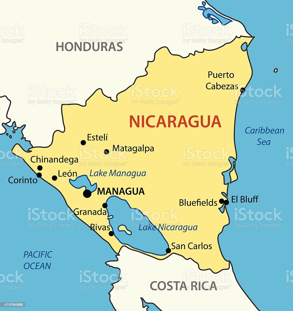 Republic Of Nicaragua Vector Map Stock Vector Art & More Images of ...