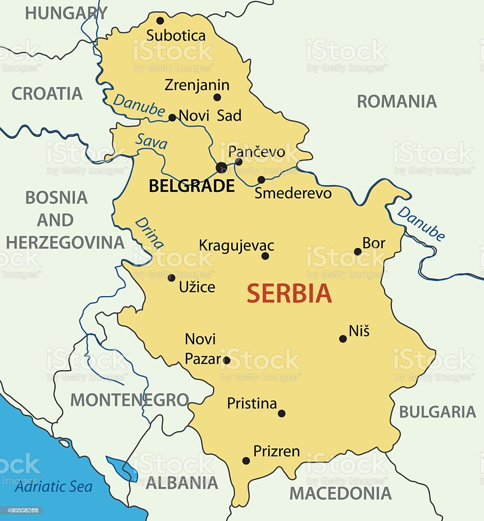Repubblica Della Serbiamappa Vettoriale Immagini Vettoriali Stock