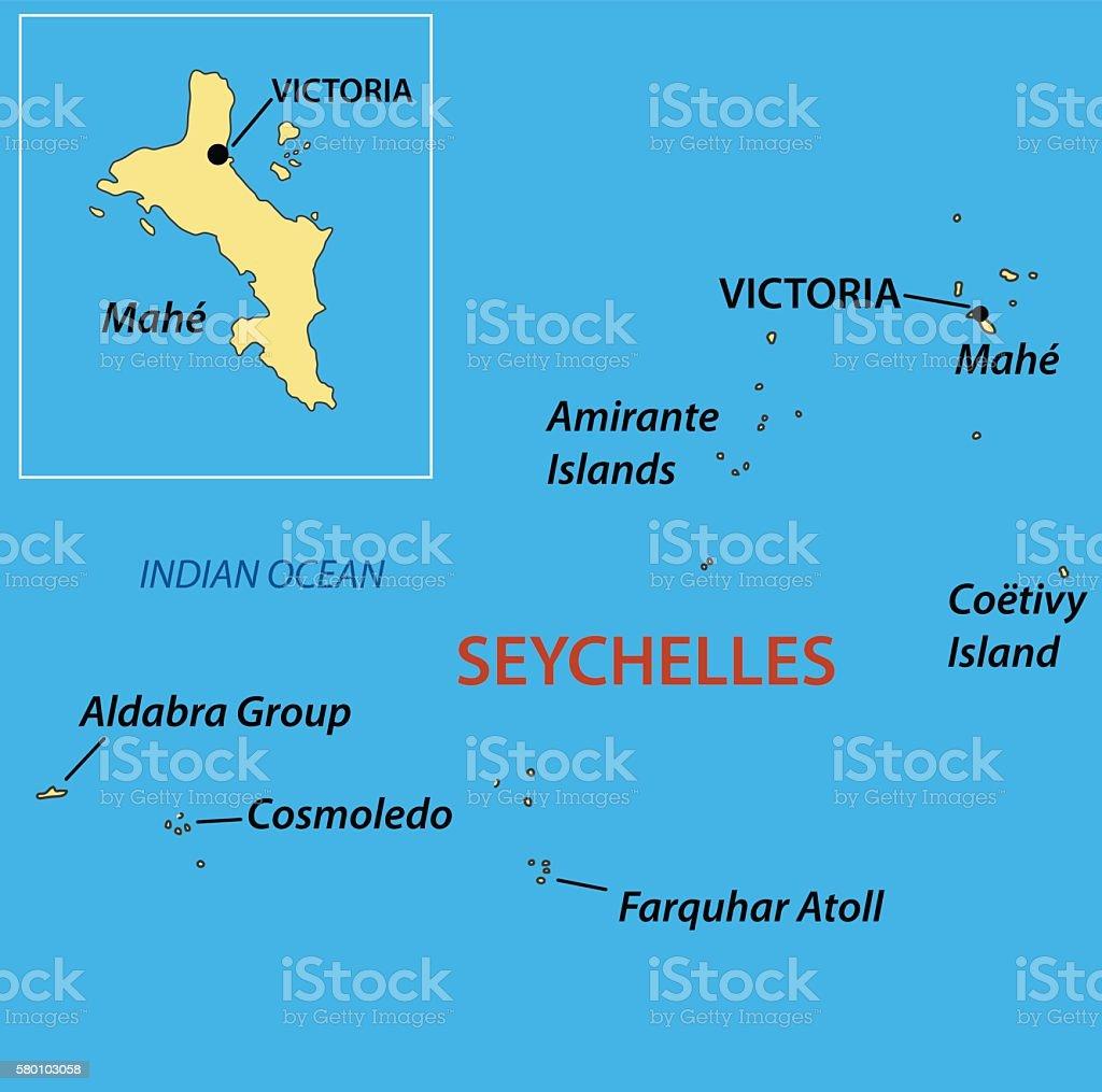 Republic of Seychelles - vector map vector art illustration