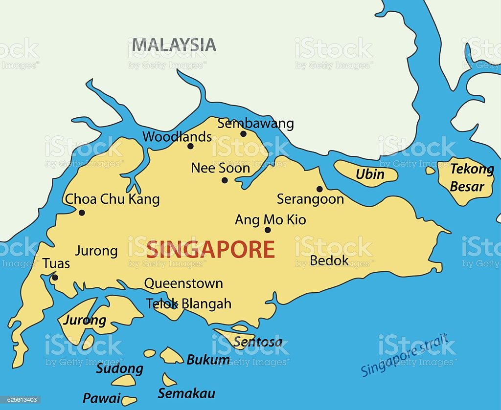 Republic Of Singapore Vector Map Stock Vector Art & More Images of ...
