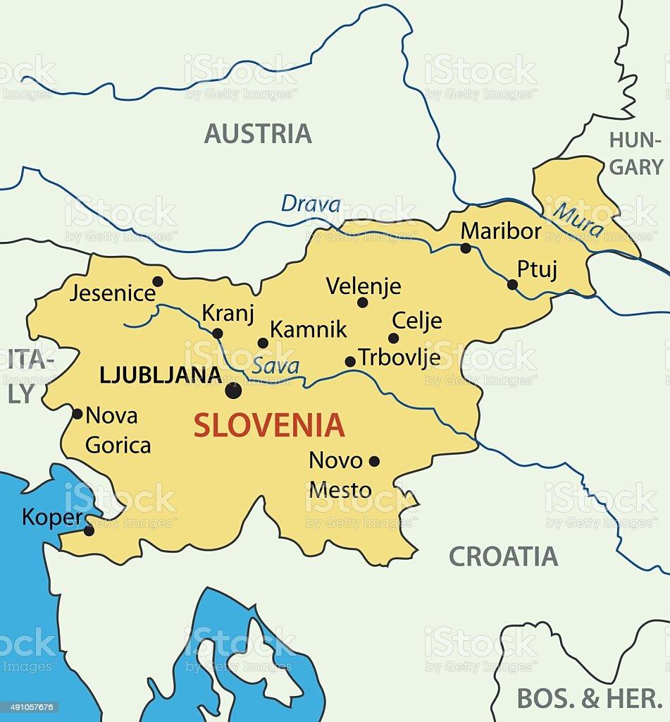 Republic of Slovenia - vector map vector art illustration