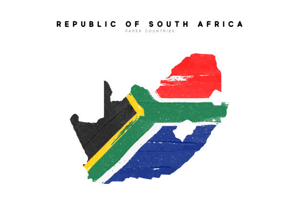 bildbanksillustrationer, clip art samt tecknat material och ikoner med republik av sydafrika specificerad kartlägga med sjunker av landet. målade i akvarell färg färger i den nationella flaggan - south africa