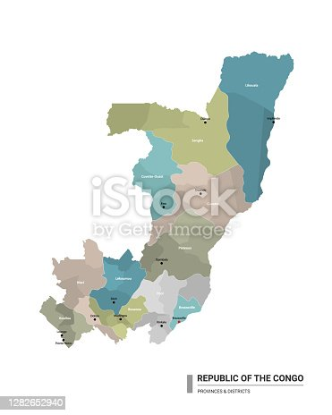 Republic of the Congo higt detailed map with subdivisions. Administrative map of Republic of the Congo with districts and cities name, colored by states and administrative districts. Vector illustration with editable and labelled layers.